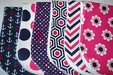 Pack of 6 Burp Cloths Anchors Flowers Dots Patterns Pink White & Navy Handmade