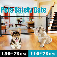 Pet Dog Gate Safety Guard Mesh Folding Baby Stair Retractable Door Isolation Net