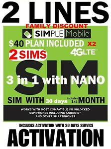 Simple Mobile SIM WITH 🔥 FAMILY PLAN 🔥2 X $40 PLAN INCLUDES 30 DAYS SERVICE!