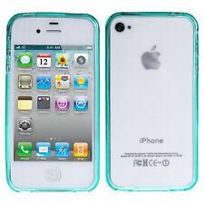 Silikon Bumper Apple iPhone 4 4S Grün Hülle Schutzhülle Case Etui Transparent