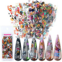 10Pcs Mixed Halloween Nail Art Foil Sticker Transfer Decals Paper Nail Manicure