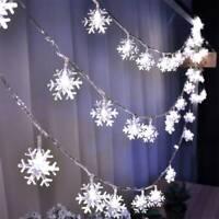 LED Lichtervorhang Weihnachten Lichterkette Schneeflocken Dekor Xmas #sd flYfE