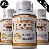180 TURMERIC CAPSULES BLACK PEPPER EXTRACT CURCUMIN 95% TUMERIC ANTIOXIDANT PILL