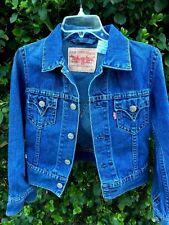 LEVIS STRAUSS & CO Iconic Type 1 Womens Motorcycle Blue Denim Jean Jacket Sz XS