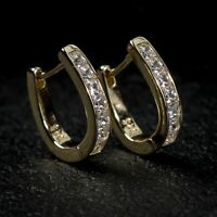 Mens 14K Gold Vermeil Iced Solitaire Sterling Silver Small Huggie Hoop Earrings