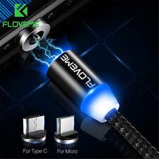 Floveme LED Magnético Tipo C Micro USB cargador de carga rápida teléfonos Cable Cable 1/2M