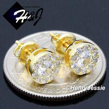 MEN 925 STERLING SILVER 8MM LAB DIAMOND GOLD ROUND SCREW BACK STUD EARRING*GE143