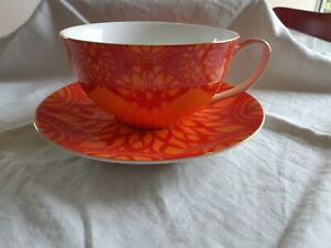 Large Orange & Red T2 Cup and Saucer
