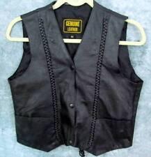 """Black Leather Vest M Med S Sm Snaps Braiding Pockets Corset Lace-up 36"""" Chest"""