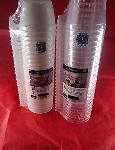 Confezione da 25 tazze cappuccino  in plastica, trasparente o bianco - 190 cc