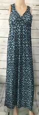 SWEET PEA By STACI FRATI Womens XS Teal Blue Print Maxi Sleeveless Dress