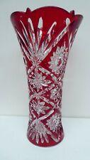 ORIGINAL VINTAGE LARGE RED OVERLAY ART GLASS VASE FLASH GLASS STYLE