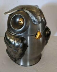 Mid Century Seymour Mann Owl Ice Bucket Olde Tankardware Made in Italy Pewter