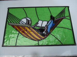 Newly crafted Leaded Stained Glass Window Panel SUMMER READING 492mm by 423mm