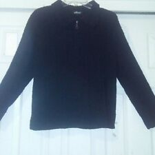 Effeci Womens Sweater Jacket Size L Black Full Zip Front Collar Woven Fleece