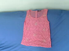 Womens Size 10 - Pink Sleeveless Lacy Top with Diamante - Atmosphere