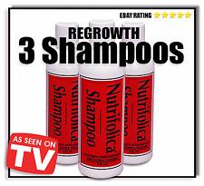 3 NUTRIFOLICA REAL HAIR REGROWTH SHAMPOO growth natural stop baldness dht loss