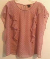 Torrid Womens Sz 0 Blouse Blush Pink Semi Sheer Sleeveless Top Ruffle Plus Size