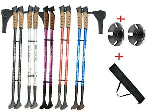 2 x Nordic Anti-shock Trekking Walking Hiking Pair Stick Pole