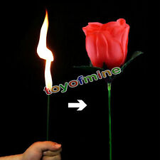 New Stage Close Up Magic Trick Torch Rose to Fire Tricks Flame Appearing Flower