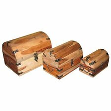 SET/3 LARGE WOODEN STORAGE BOXES JEWELLERY TRINKET DOMED CHESTS SHEESHAM WOOD