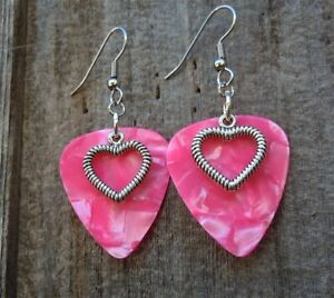 Heart Outline Charm on Pink MOP Guitar Pick Earrings with Surgical Steel Earwire