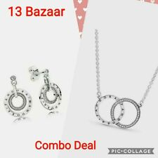 GENUINE PANDORA STERLING SILVER CIRCLES NECKLACE + CIRCLES LOGO STUD EARINGS UK