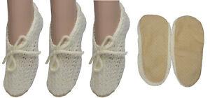 Ladies 3 PACK Cream Comfy Traditional Slipper Socks Bargain Price Christmas