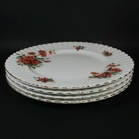 "Royal Albert CENTENNIAL ROSE 4 Dinner Plates 10.5"" Bone China Plate England"