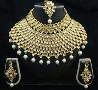 Indian Bridal Wedding Kundan Big Choker Pearl  Necklace Earrings Jewelry Set