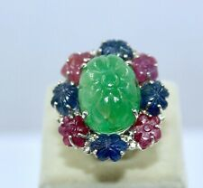 Carved Gemstone Diamond Silver Ring Antique Colombian Emerald Ruby Blue Sapphire