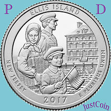 2017 P&D ELLIS ISLAND MONUMENT (NJ) TWO QUARTERS SET UNCIRCULATED