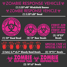 Zombie Outbreak Response Team 17 Piece Pink Vehicle Decal Set Kit Car Truck New