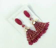 Kendra Scott Rose Gold Tassel Dove Red Burgundy Agate Earrings Beaded