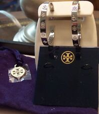 NWT Tory Burch Pierced T Hoop Silver Earrings with Pouch $95 30% OFF! FREE SHIP