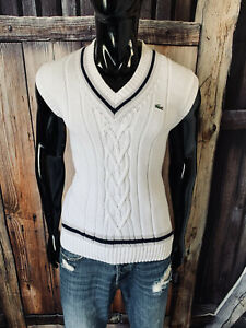 Lacoste White Navy & Gray Cable Knit Tennis Sweater Vest Size 4 Mint!