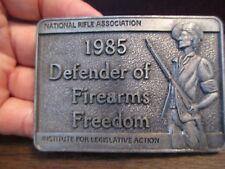 Vintage Men's Belt Buckle - Pewter - NRA - 1985 DEFENDERS OF FIREARM FREEDOM
