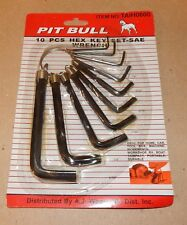 """Hex Key Allen Wrench Set 10pc SAE Pit Bull On Ring 1/16"""" To 3/8"""" Durable 138U"""