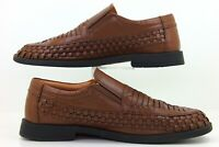 Irvine Park Brown Leather Basket Weave Casual Slip On Loafers Men's 12 M Shoes