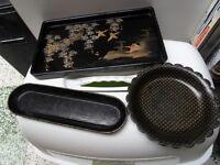Vintage tray plateau desserte coupelle art deco en bois et carton bouilli