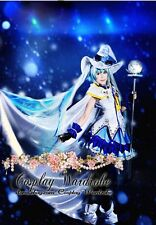 Vocaloid Costume 2014 Snow Miku Dress Cosplay Hat Lolita Outfit Magic Girl