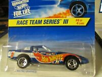 Hot Wheels 80s Corvette Race Team Series III Blue Coolest to Collect on card