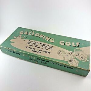 Vintage Galloping Golf Board Game 1950s Bakelite or Catalin Dice Complete
