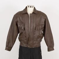 Mens St. JOHNS BAY Vintage Leather Jacket Size M Quilted Insulated Liner