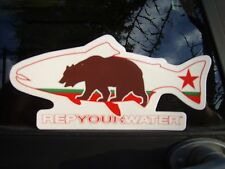 New listing California Flag Grizzly Bear Fly Fishing Trout Decal