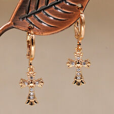 18K Gold Filled - Flower Cross Gemstone Topaz Zircon Party Women Earrings DS