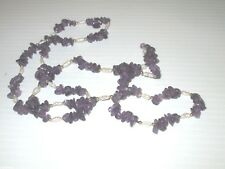 """AMETHYST NUGGETS BEAD FRESHWATER PEARLS & GOLD BEAD NECKLACE 36"""" 1980'S"""
