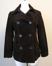 Womens GAP Brown Corduroy Double Breasted Lined Jacket Size Small