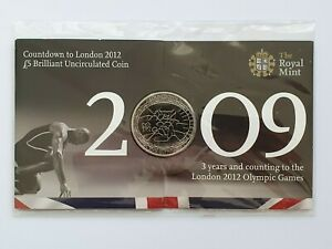 2009 Countdown to London 2012 - Digital Three 3 £5 coin - Five Pound Pack