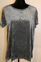 Green Tea Women's Velvet Top Short Sleeve Steal Gray Hip Hider Length size Large